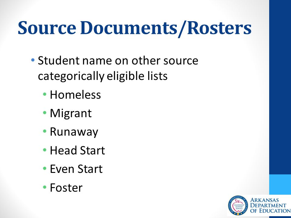 Source Documents/Rosters Student name on other source categorically eligible lists Homeless Migrant Runaway Head Start Even Start Foster