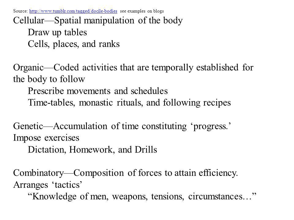 Humphreys, A (2007): 1.Foucaults examples of power/knowledge at work in mechanisms of discipline cf.