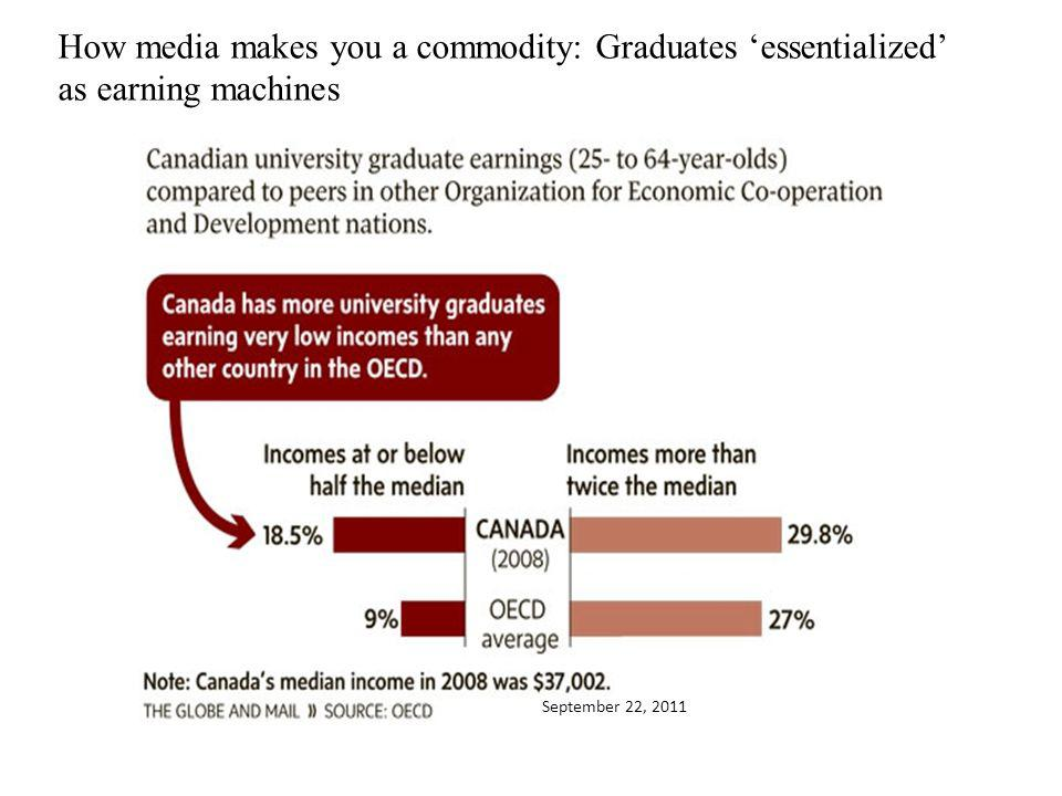 September 22, 2011 How media makes you a commodity: Graduates essentialized as earning machines