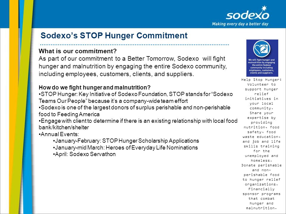 Sodexos STOP Hunger Commitment What is our commitment? As part of our commitment to a Better Tomorrow, Sodexo will fight hunger and malnutrition by en