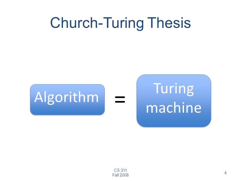 CS 311 Fall 2008 4 Church-Turing Thesis Algorithm Turing machine =
