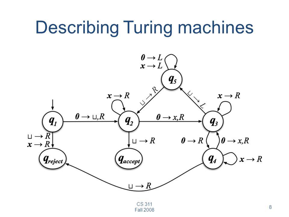 CS 311 Fall 2008 8 Describing Turing machines
