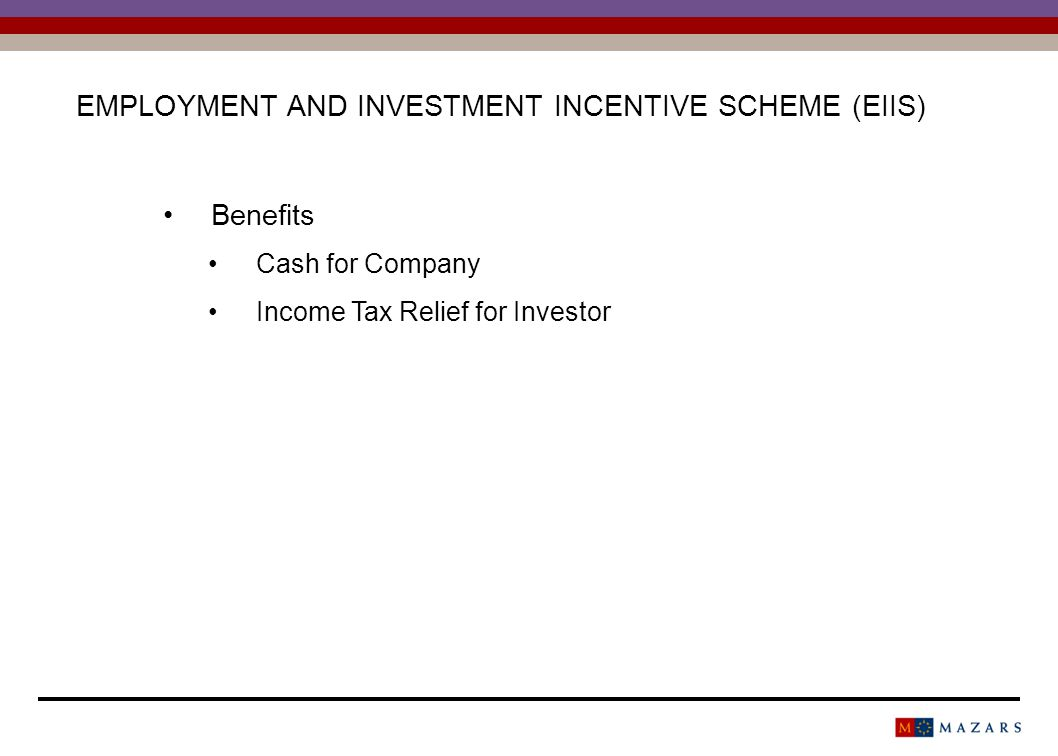 Benefits Cash for Company Income Tax Relief for Investor