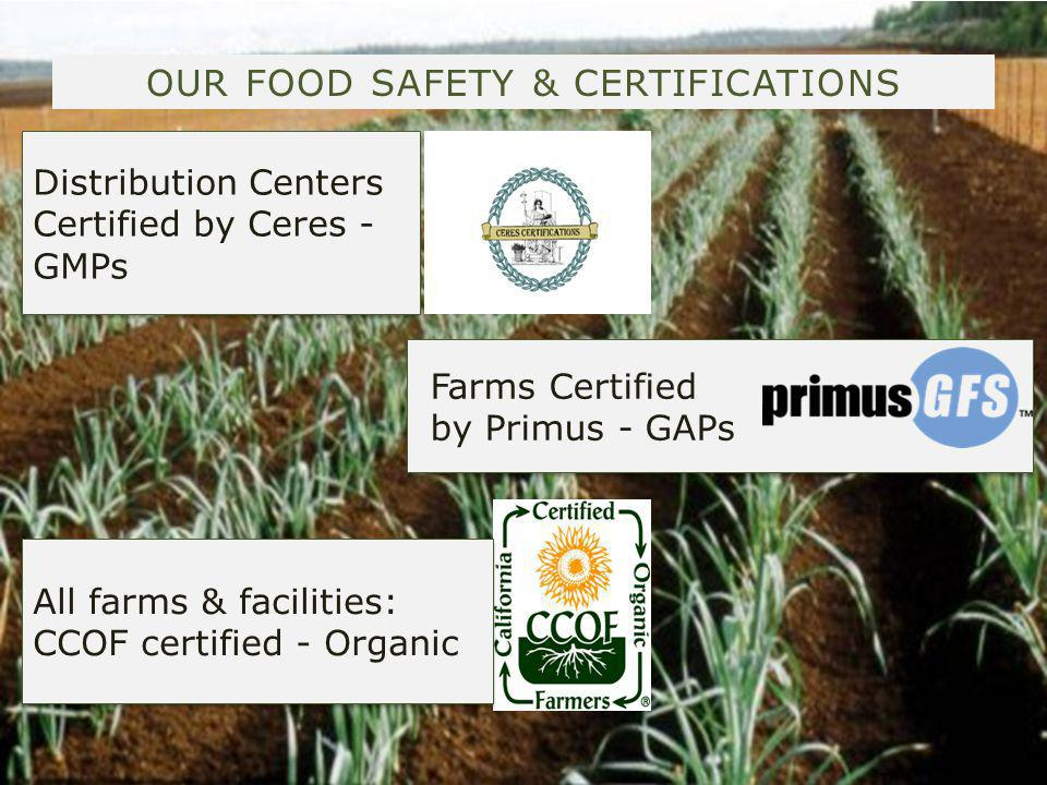 OUR FOOD SAFETY & CERTIFICATIONS Distribution Centers Certified by Ceres - GMPs Distribution Centers Certified by Ceres - GMPs Farms Certified by Primus - GAPs Farms Certified by Primus - GAPs All farms & facilities: CCOF certified - Organic