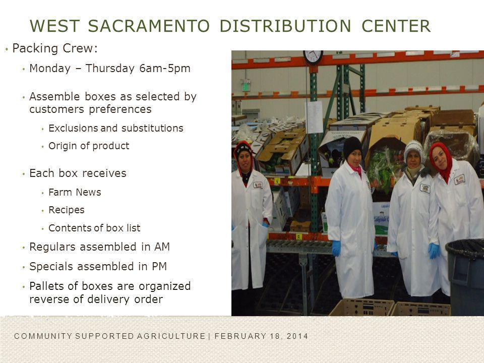 WEST SACRAMENTO DISTRIBUTION CENTER Packing Crew: Monday – Thursday 6am-5pm Assemble boxes as selected by customers preferences Exclusions and substit