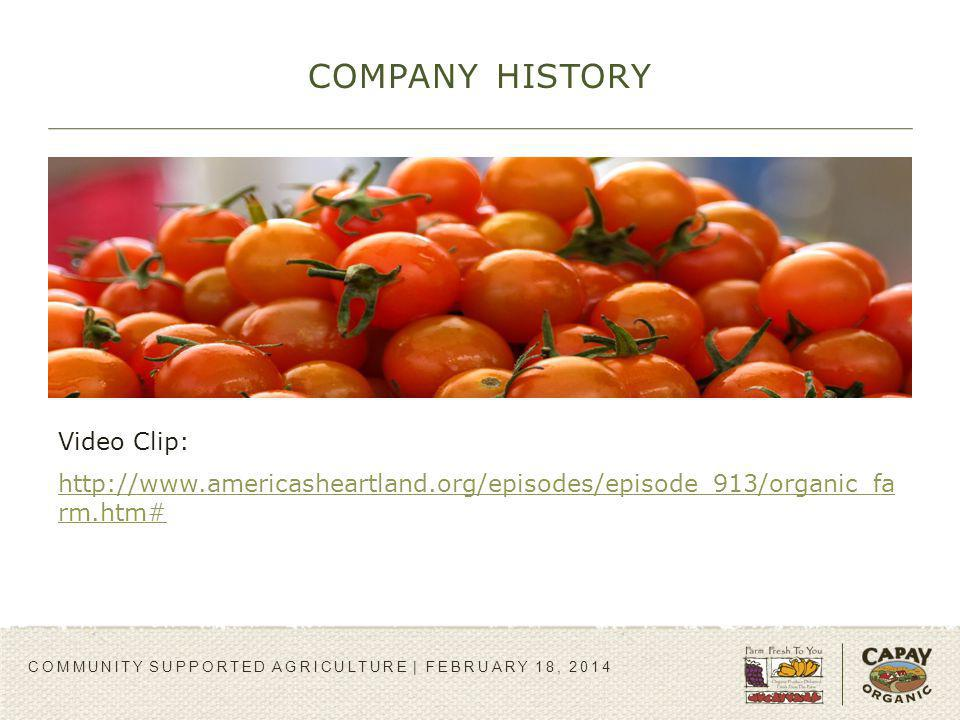 COMPANY HISTORY COMMUNITY SUPPORTED AGRICULTURE | FEBRUARY 18, 2014 Video Clip: http://www.americasheartland.org/episodes/episode_913/organic_fa rm.ht