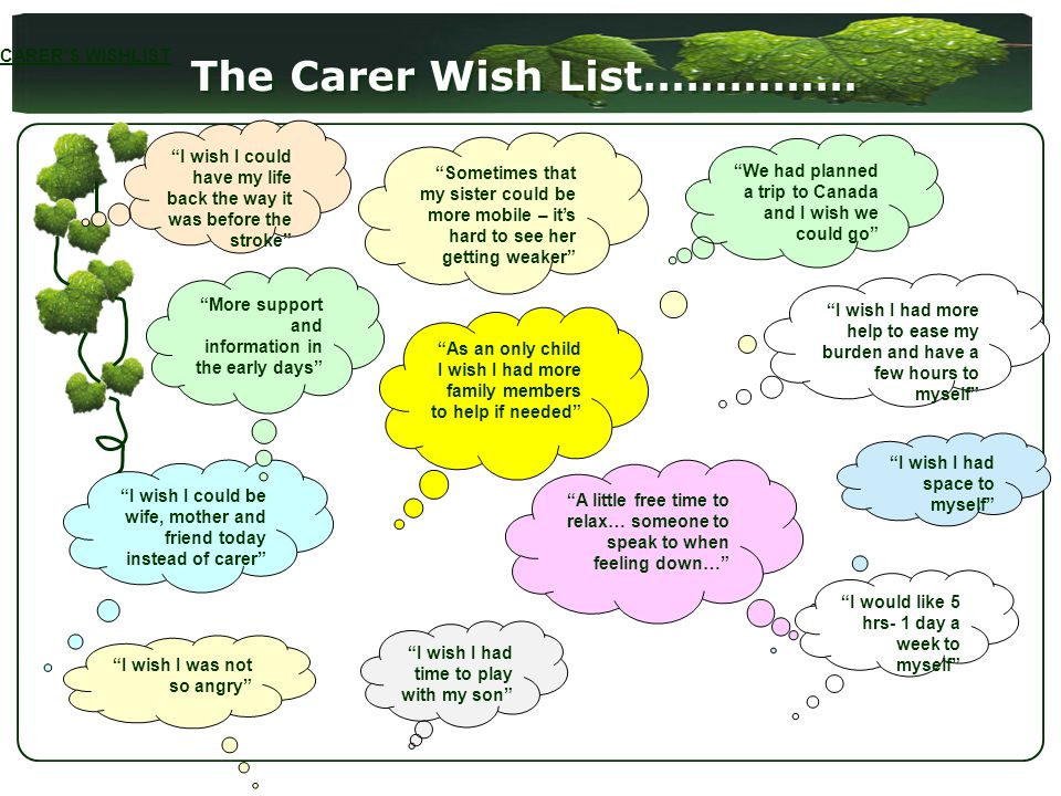 The Carer Wish List…………… I wish I could have my life back the way it was before the stroke We had planned a trip to Canada and I wish we could go Sometimes that my sister could be more mobile – its hard to see her getting weaker I wish I could be wife, mother and friend today instead of carer I wish I was not so angry I wish I had more help to ease my burden and have a few hours to myself I wish I had space to myself I wish I had time to play with my son A little free time to relax… someone to speak to when feeling down… More support and information in the early days I would like 5 hrs- 1 day a week to myself As an only child I wish I had more family members to help if needed CARERS WISHLIST