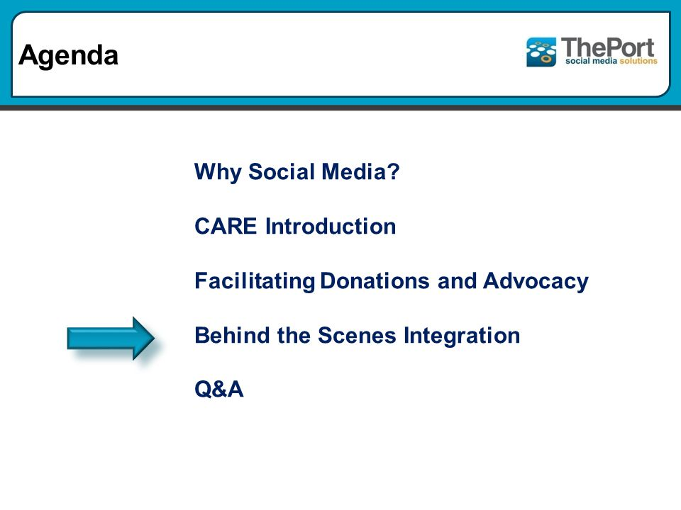 Agenda Why Social Media? CARE Introduction Facilitating Donations and Advocacy Behind the Scenes Integration Q&A