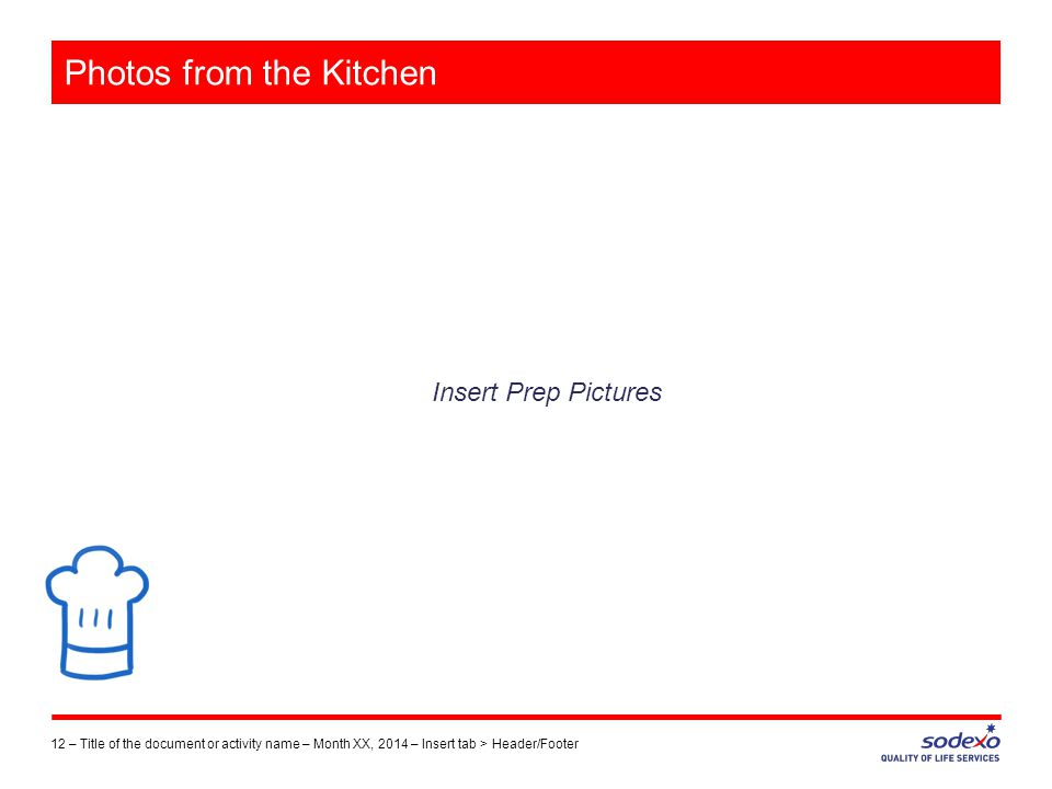 Photos from the Kitchen Insert Prep Pictures 12 –Title of the document or activity name – Month XX, 2014 – Insert tab > Header/Footer