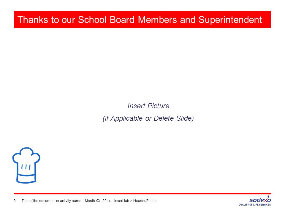 Thanks to our School Board Members and Superintendent Insert Picture (if Applicable or Delete Slide) 3 –Title of the document or activity name – Month XX, 2014 – Insert tab > Header/Footer