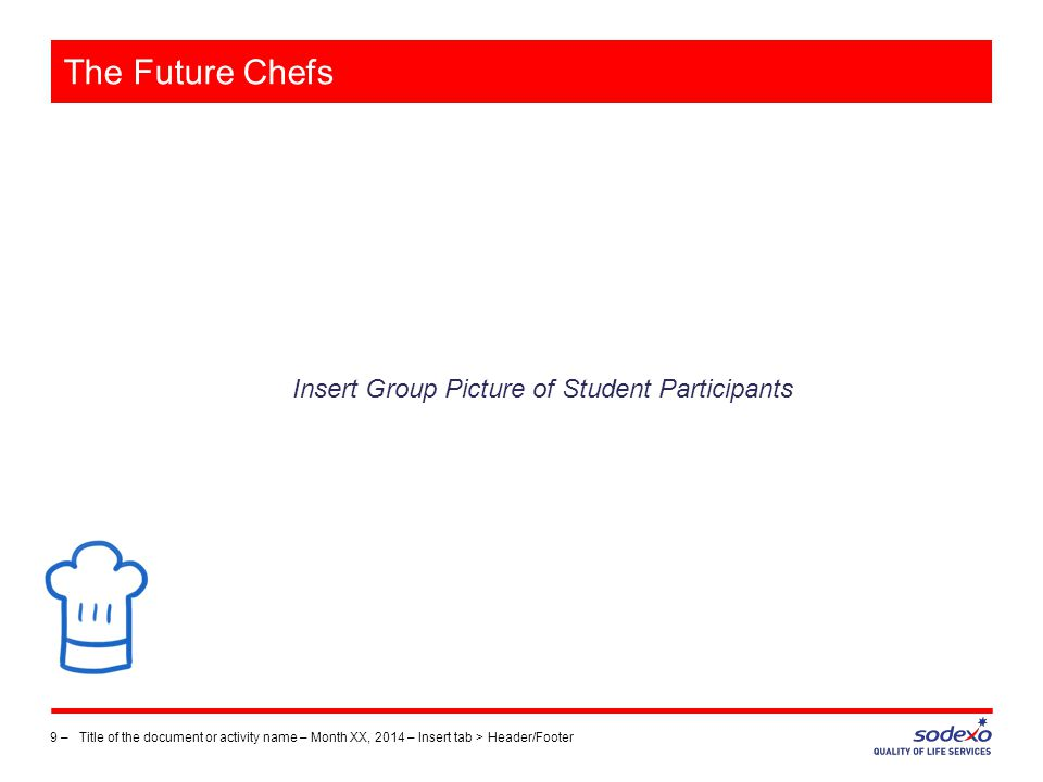 The Future Chefs Insert Group Picture of Student Participants 9 –Title of the document or activity name – Month XX, 2014 – Insert tab > Header/Footer