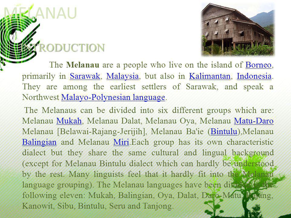 MELANAUINTRODUCTION The Melanau are a people who live on the island of Borneo, primarily in Sarawak, Malaysia, but also in Kalimantan, Indonesia. They
