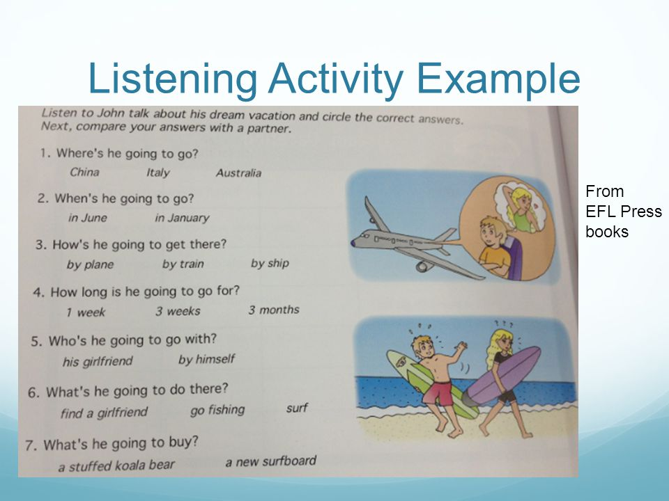 Listening Activity Example From EFL Press books