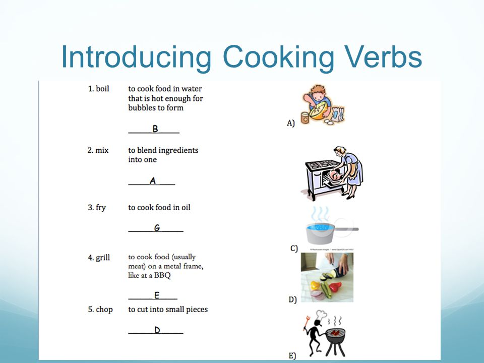 Introducing Cooking Verbs