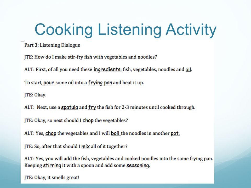 Cooking Listening Activity