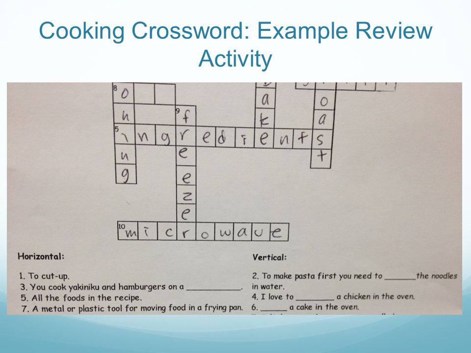 Cooking Crossword: Example Review Activity