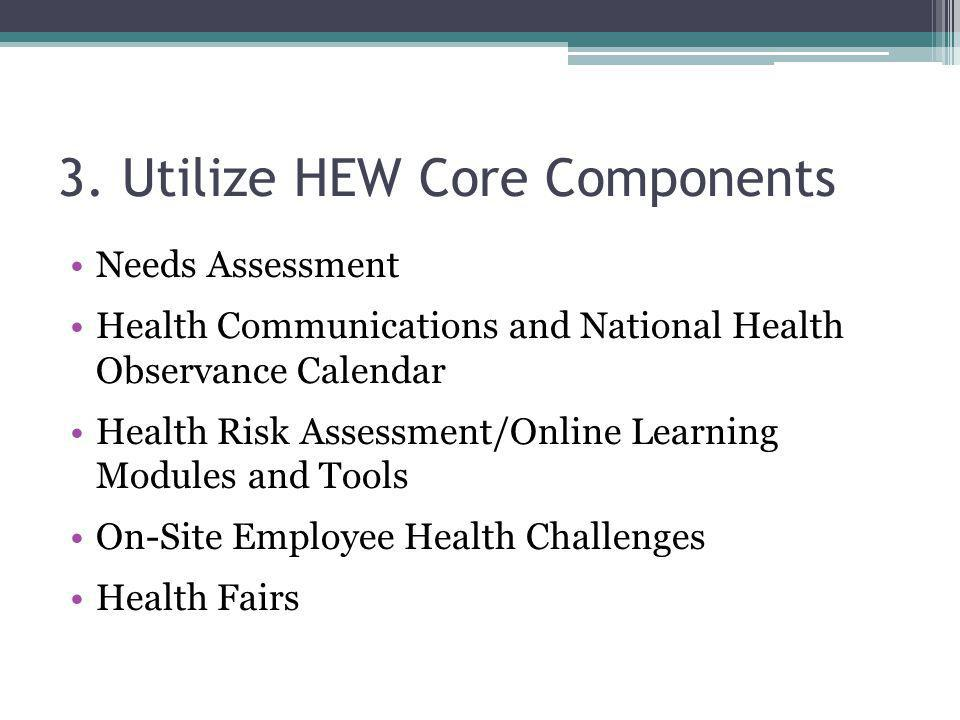 3. Utilize HEW Core Components Needs Assessment Health Communications and National Health Observance Calendar Health Risk Assessment/Online Learning M