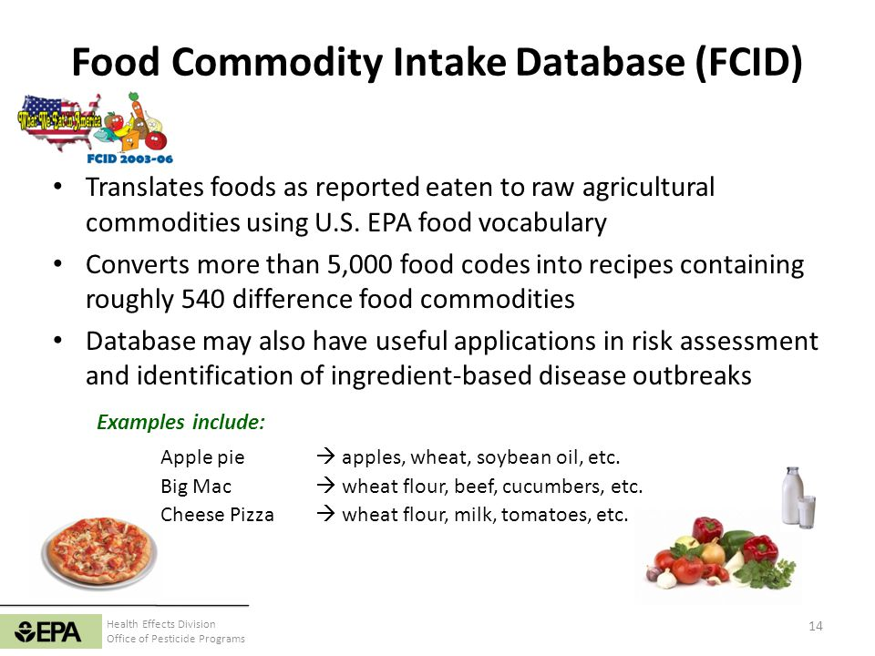 Health Effects Division Office of Pesticide Programs Food Commodity Intake Database (FCID) Translates foods as reported eaten to raw agricultural comm
