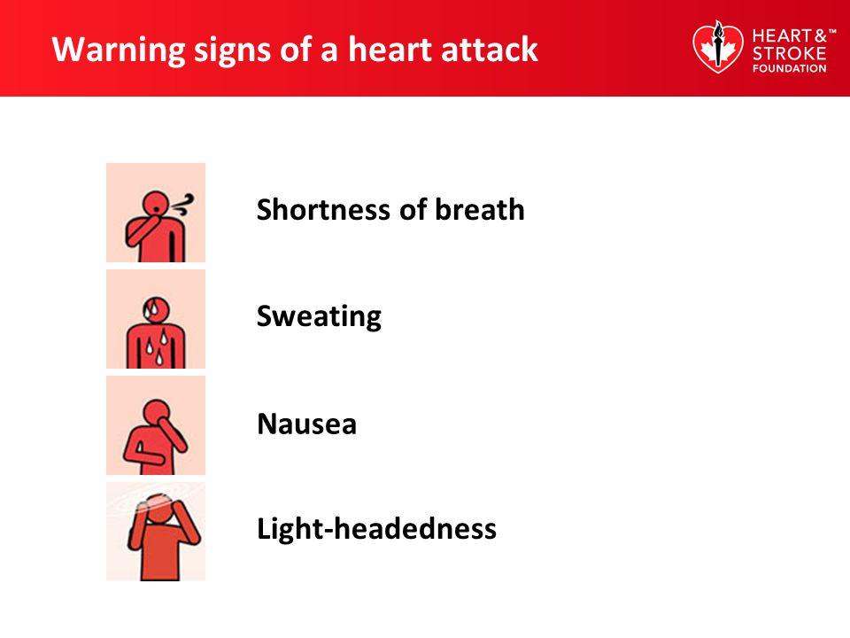 Warning signs of a heart attack Shortness of breath Sweating Nausea Light-headedness