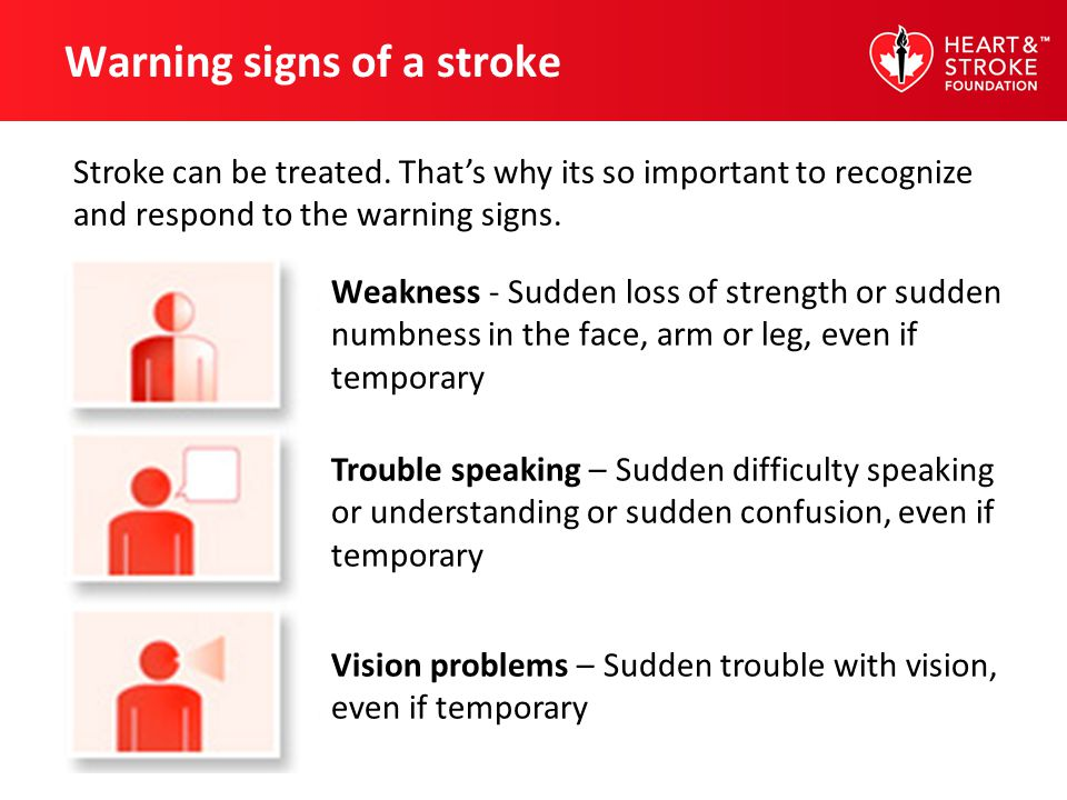 Warning signs of a stroke Weakness - Sudden loss of strength or sudden numbness in the face, arm or leg, even if temporary Trouble speaking – Sudden d