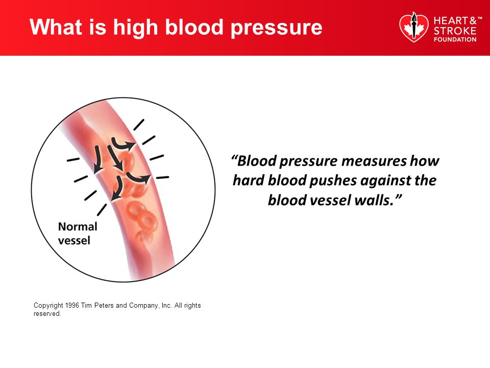 Blood pressure measures how hard blood pushes against the blood vessel walls. Copyright 1996 Tim Peters and Company, Inc. All rights reserved. What is