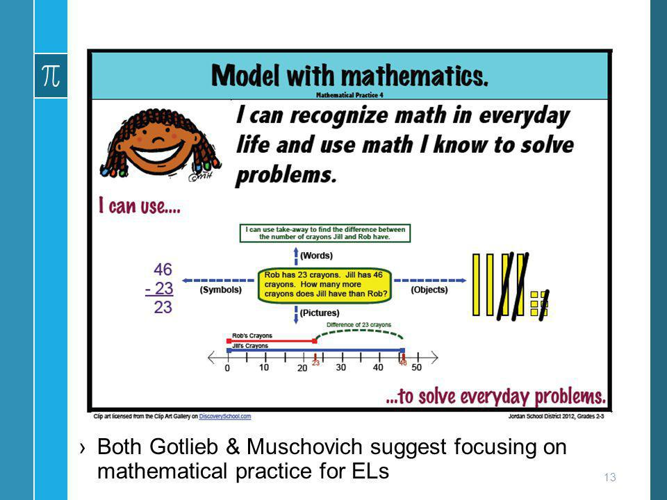 Both Gotlieb & Muschovich suggest focusing on mathematical practice for ELs 13