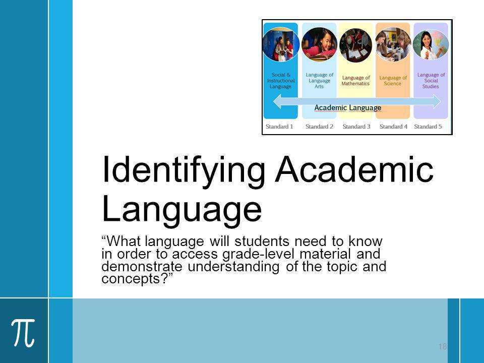 Identifying Academic Language What language will students need to know in order to access grade-level material and demonstrate understanding of the to