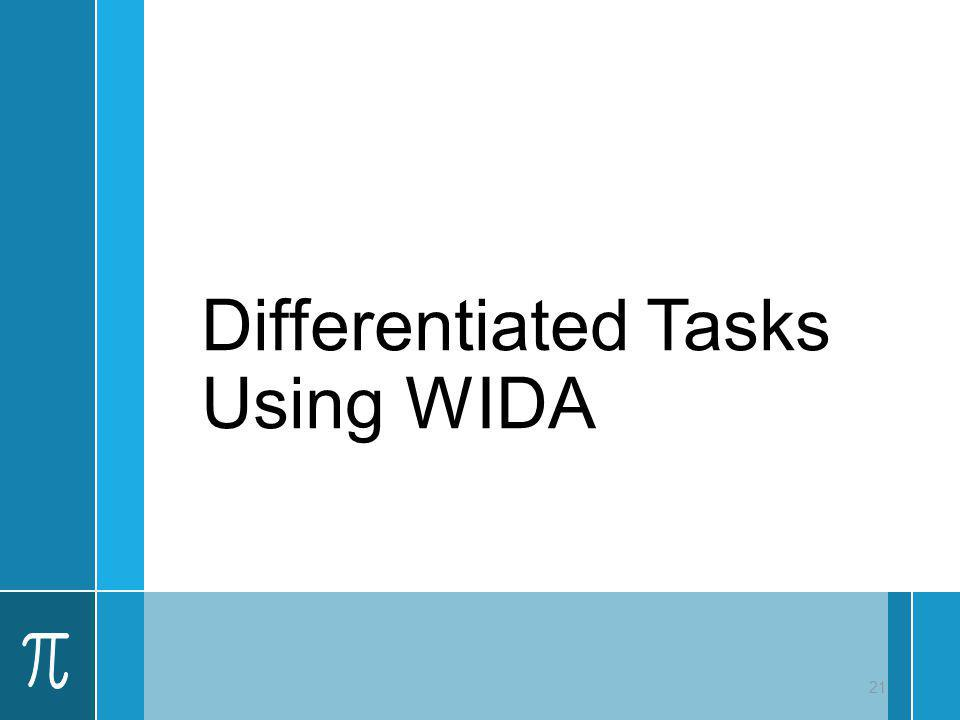 Differentiated Tasks Using WIDA 21