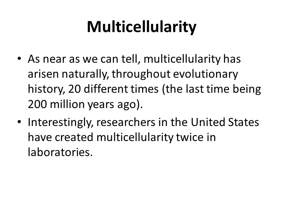Multicellularity As near as we can tell, multicellularity has arisen naturally, throughout evolutionary history, 20 different times (the last time bei
