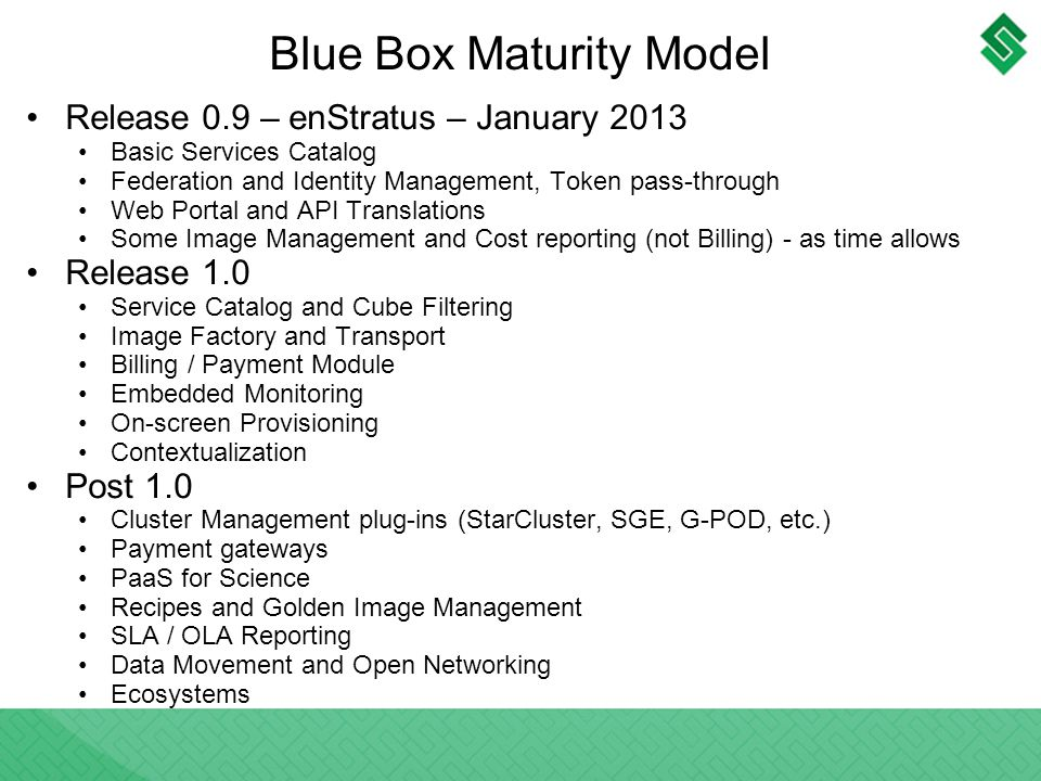 Blue Box Maturity Model Release 0.9 – enStratus – January 2013 Basic Services Catalog Federation and Identity Management, Token pass-through Web Portal and API Translations Some Image Management and Cost reporting (not Billing) - as time allows Release 1.0 Service Catalog and Cube Filtering Image Factory and Transport Billing / Payment Module Embedded Monitoring On-screen Provisioning Contextualization Post 1.0 Cluster Management plug-ins (StarCluster, SGE, G-POD, etc.) Payment gateways PaaS for Science Recipes and Golden Image Management SLA / OLA Reporting Data Movement and Open Networking Ecosystems