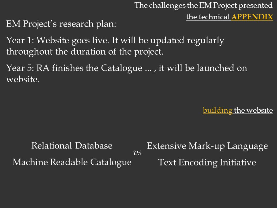 The challenges the EM Project presented the technical APPENDIX EM Projects research plan: Year 1: Website goes live.