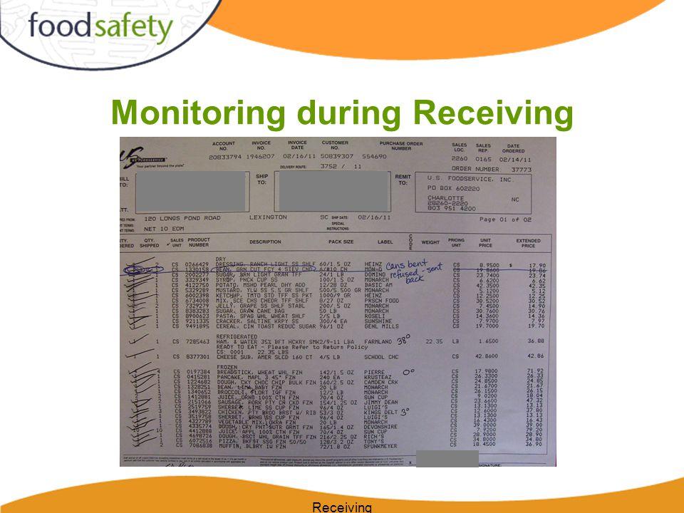 Monitoring during Receiving Receiving
