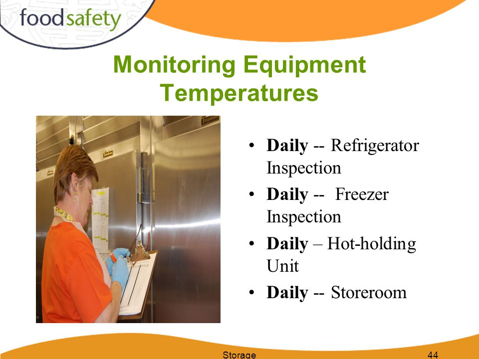 Monitoring Equipment Temperatures Daily -- Refrigerator Inspection Daily -- Freezer Inspection Daily – Hot-holding Unit Daily -- Storeroom Storage44