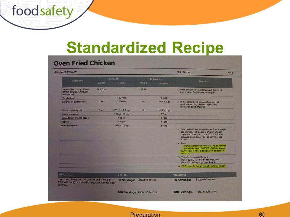 Standardized Recipe Preparation60