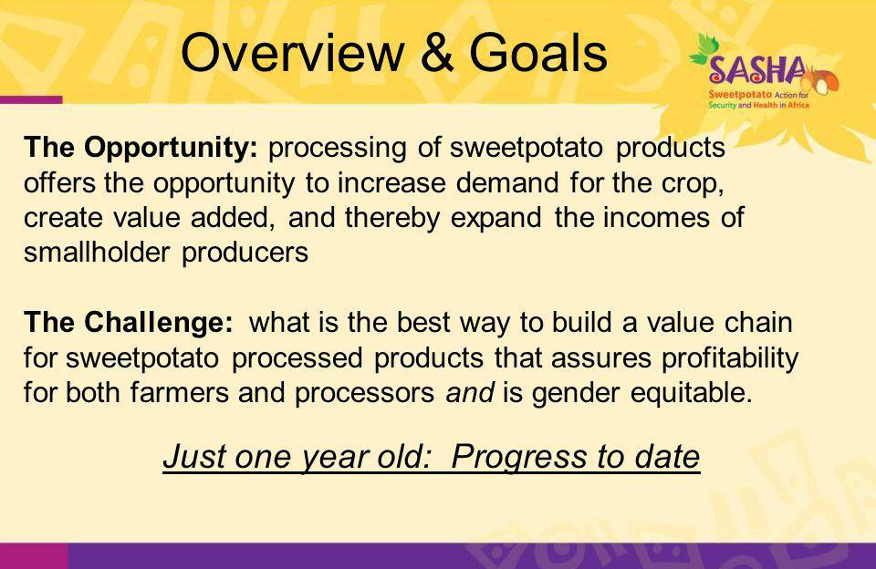 Overview & Goals The Opportunity: processing of sweetpotato products offers the opportunity to increase demand for the crop, create value added, and thereby expand the incomes of smallholder producers The Challenge: what is the best way to build a value chain for sweetpotato processed products that assures profitability for both farmers and processors and is gender equitable.