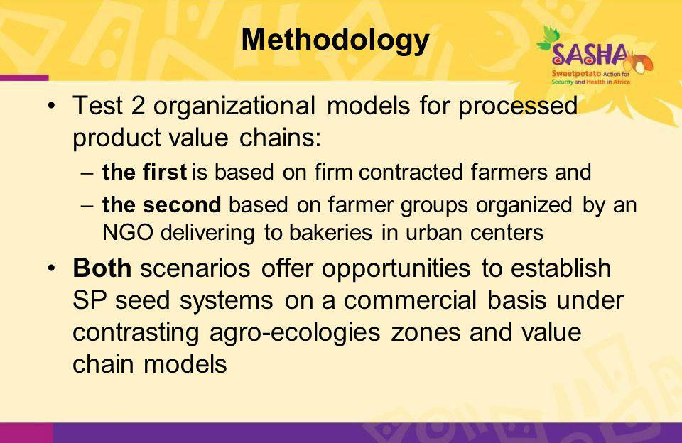 Methodology Test 2 organizational models for processed product value chains: –the first is based on firm contracted farmers and –the second based on farmer groups organized by an NGO delivering to bakeries in urban centers Both scenarios offer opportunities to establish SP seed systems on a commercial basis under contrasting agro-ecologies zones and value chain models