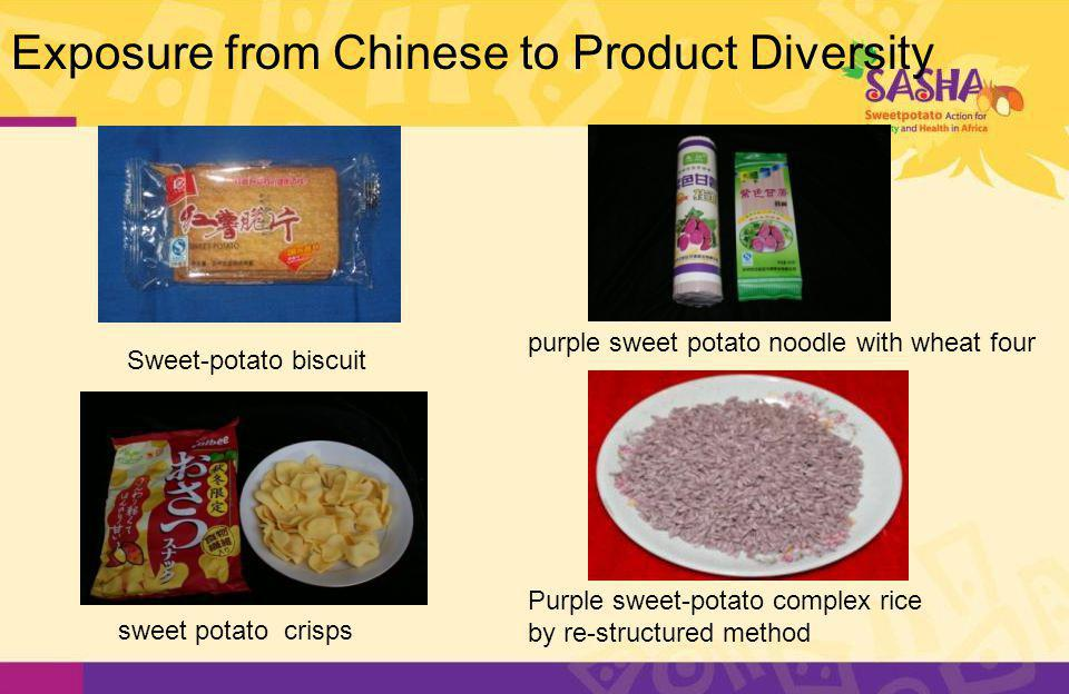 Exposure from Chinese to Product Diversity Sweet-potato biscuit sweet potato crisps Purple sweet-potato complex rice by re-structured method purple sweet potato noodle with wheat four