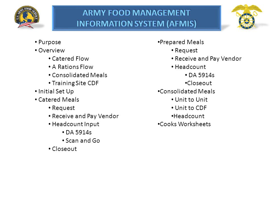 INITIAL SETUP Food Service and Unit Personnel Input To enter the unit information click on the Dining Facility/Unit Information Maintenance link under Headcount/Cash Collection section