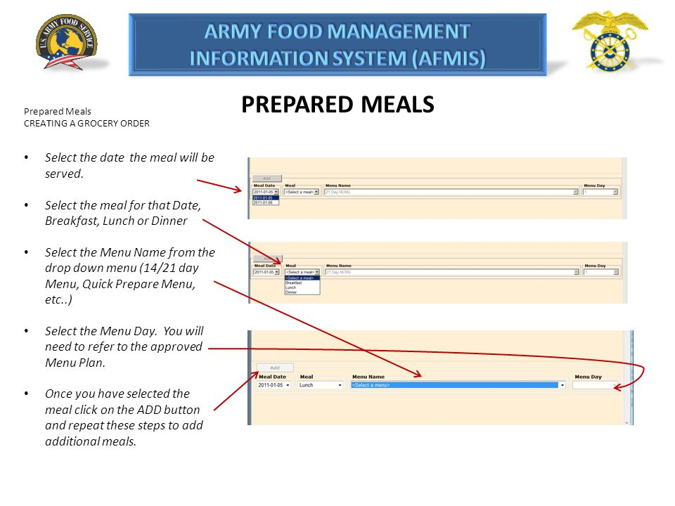 PREPARED MEALS Prepared Meals CREATING A GROCERY ORDER Select the date the meal will be served. Select the meal for that Date, Breakfast, Lunch or Din