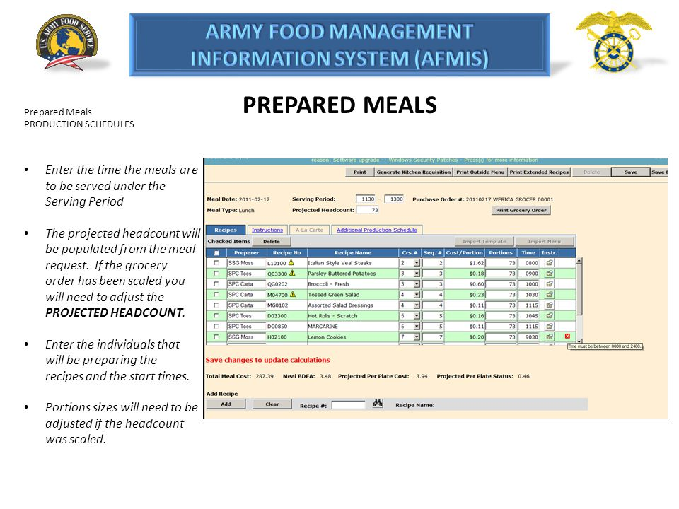 PREPARED MEALS Prepared Meals PRODUCTION SCHEDULES Enter the time the meals are to be served under the Serving Period The projected headcount will be