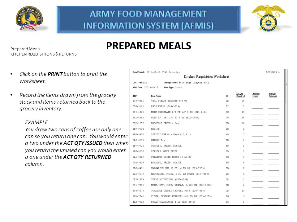 PREPARED MEALS Prepared Meals KITCHEN REQUISITIONS & RETURNS Click on the PRINT button to print the worksheet. Record the items drawn from the grocery