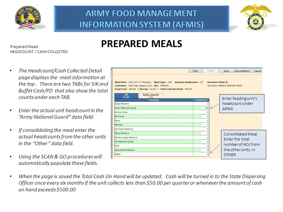 PREPARED MEALS Prepared Meals HEADCOUNT / CASH COLLECTED The Headcount/Cash Collected Detail page displays the meal information at the top. There are