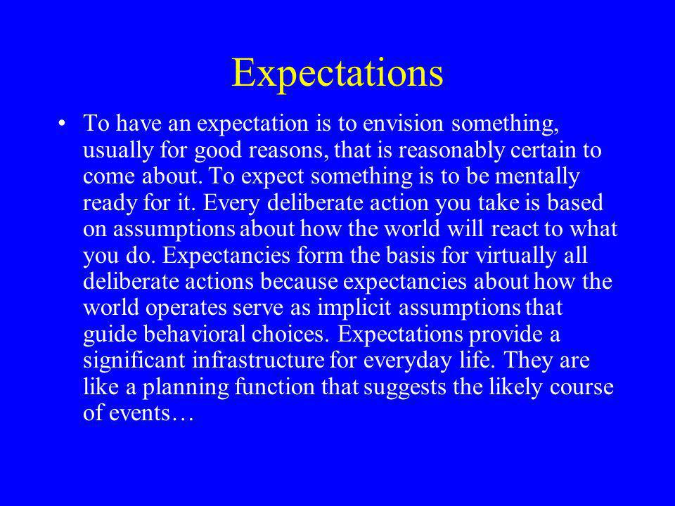 Expectations To have an expectation is to envision something, usually for good reasons, that is reasonably certain to come about.