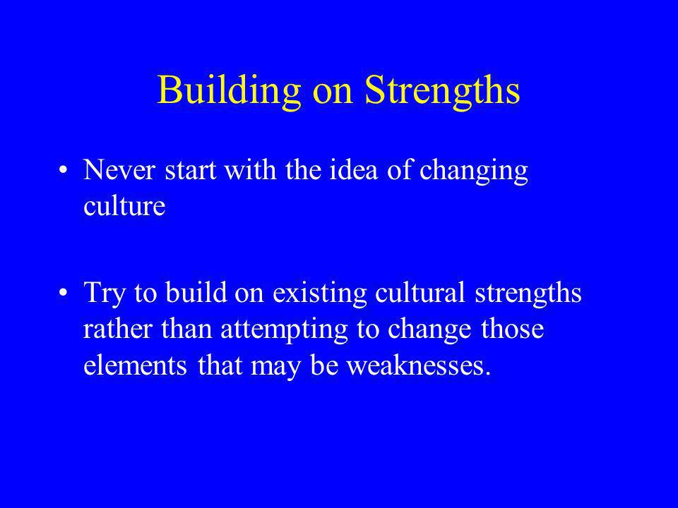 Building on Strengths Never start with the idea of changing culture Try to build on existing cultural strengths rather than attempting to change those elements that may be weaknesses.