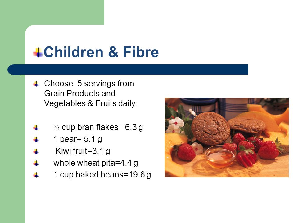 Children & Fibre Choose 5 servings from Grain Products and Vegetables & Fruits daily: ¾ cup bran flakes= 6.3 g 1 pear= 5.1 g Kiwi fruit=3.1 g whole wh