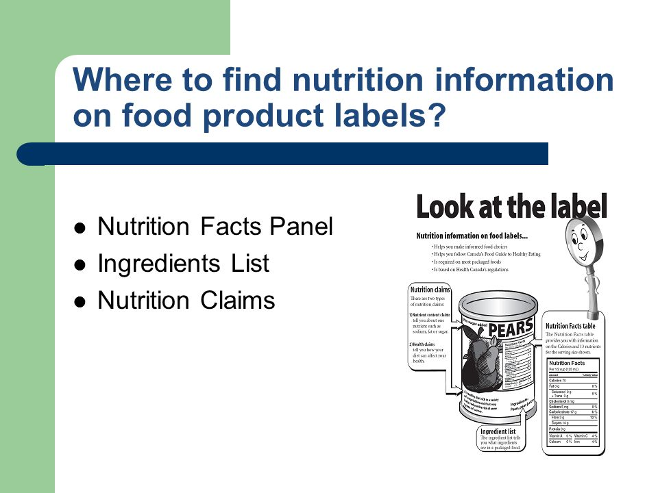 Where to find nutrition information on food product labels? Nutrition Facts Panel Ingredients List Nutrition Claims