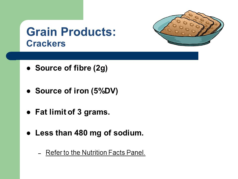 Grain Products: Crackers Source of fibre (2g) Source of iron (5%DV) Fat limit of 3 grams. Less than 480 mg of sodium. – Refer to the Nutrition Facts P