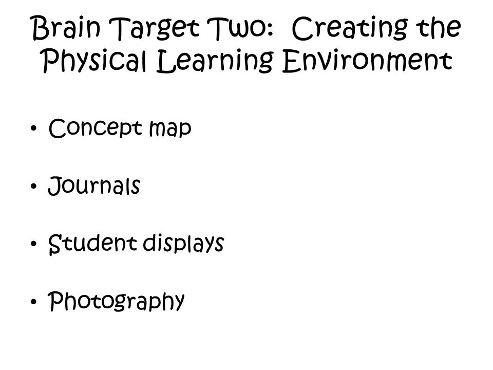 Brain Target Two: Creating the Physical Learning Environment Concept map Journals Student displays Photography