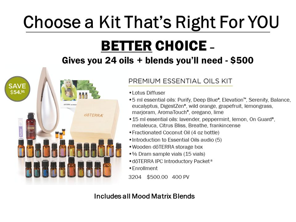 Choose a Kit Thats Right For YOU BETTER CHOICE – Gives you 24 oils + blends youll need - $500 Includes all Mood Matrix Blends