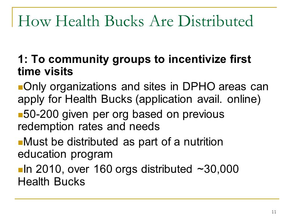 How Health Bucks Are Distributed 1: To community groups to incentivize first time visits Only organizations and sites in DPHO areas can apply for Heal